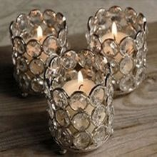 Crystal Wedding Style Round Candle Holders Set