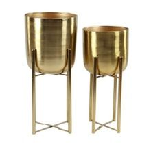 Brass Plated Planter With Stand