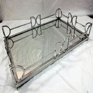 Silver Plated Glass Tray