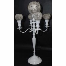 White Candelabra With Crystal