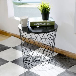 Iron Black Wooden basket Side table