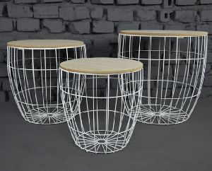 Metal White Wire basket Side table