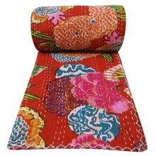 Cotton Bedspread Blanket Throw Coverlet Flower Printed Red