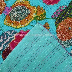 Turquoise Color Kantha Floral Cotton Bedspread Blanket