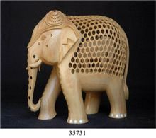 Elephant Jali Cut White Wood Trunk