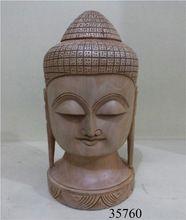 Handmade Wooden Buddha Head