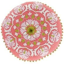 Wool Embroidered Round Cushion Cover