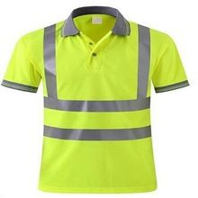 Yellow Reflective Safety Polo T Shirt