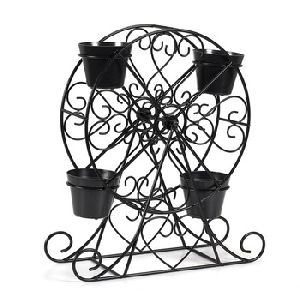 Black Powder Coating Iron Ferris Wheel Planter