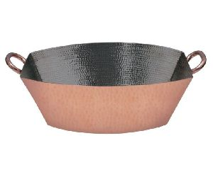 Copper And Stainless Steel Rectangular Hammered Serving Bowl
