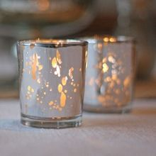 Round Mercury Glass Votive Candle Holders