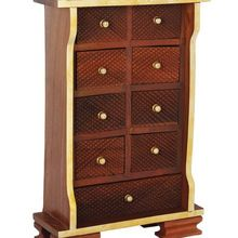 Wooden Chest of Nine Drawers Armoire Cabinet