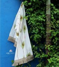 White Linen embroidered Stole