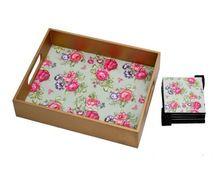 Custom Printed Flower Theme Food Serving Wood Tray