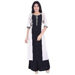 Black And White Cotton Kurti