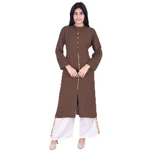 Brown Rayon Kurti With Pant