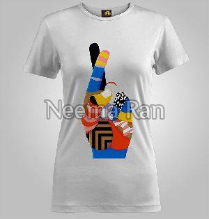 Ladies Printed T Shirts (finger Cross)