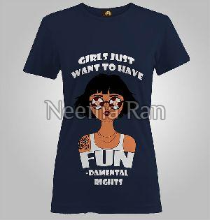 Ladies Printed T-shirts(girls Want Fun)