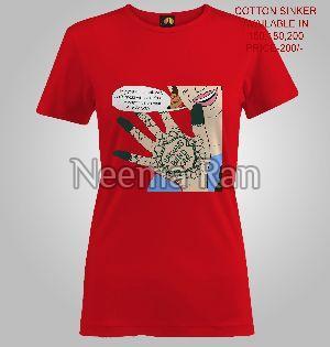 Ladies Printed T Shirts (mehndi)