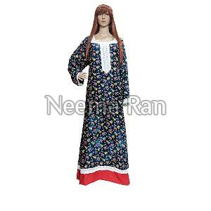 Maxi Gown (rayon Fabric Red Border)