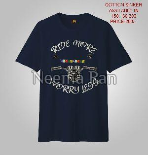 Men Printed T-shirts (ride More Worry Less)