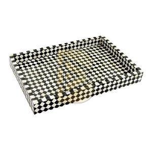 Bone Inlay Checkerboard Design Black And White Tray