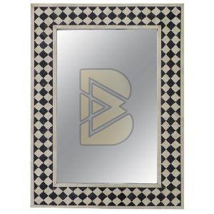 Bone Inlay Checkerboard Design Black Mirror