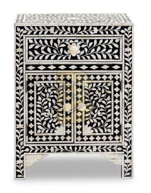 Bone Inlay Floral Design Black Bedside Tables
