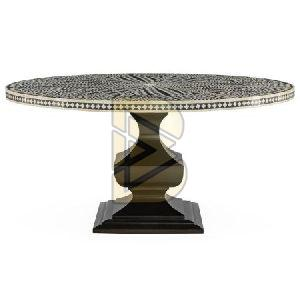 Bone Inlay Floral Design Black Dining Table