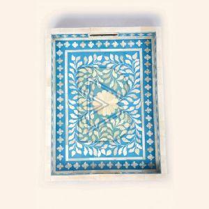 Bone Inlay Floral Design Blue Tray