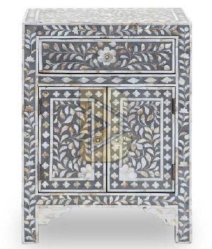 Bone Inlay Floral Design Gray Bedside Table