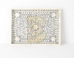 Bone Inlay Floral Design Gray Trays