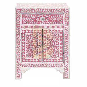 Bone Inlay Floral Design Pink Bedside Tables