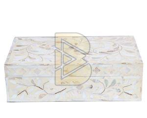 Bone Inlay Floral Design White Boxes