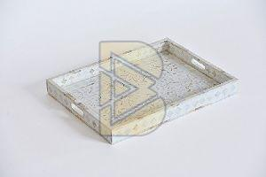 Bone Inlay Floral Design White Trays