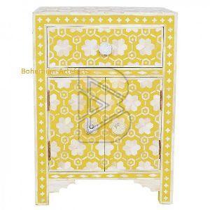 Bone Inlay Flower Design Mustard Bedside Tables