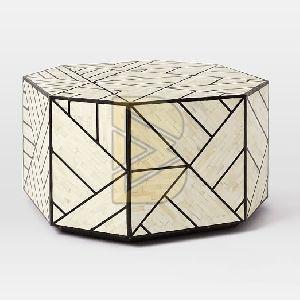 Bone Inlay Full Geometric Design White Coffee Table