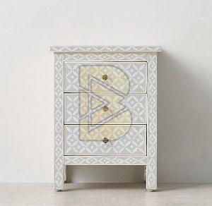 Bone Inlay Geometric Design Gray Bedside Table