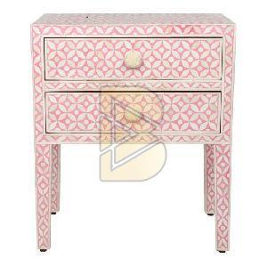 Bone Inlay Geometric Design Pink Bedside Table