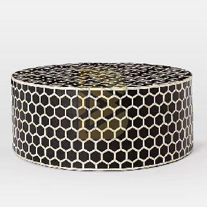 Bone Inlay Honeycomb Design Black Coffee Tables