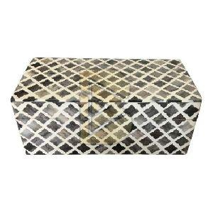 Bone Inlay Moroccan Design Light Wooden Colour Box