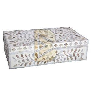 Bone Inlay Royal Floral Design White Box