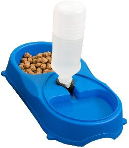 Dog Food Bowl With Water Bottle Dispenser