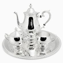 Brass Silver Plated Tea-Set with Gadroon Tray