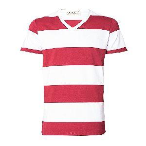 Mens V-neck Striped T-shirts