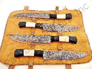 Chef Set Fbk-1038 Custom Made Damascus Steel Kitchen Knife Set