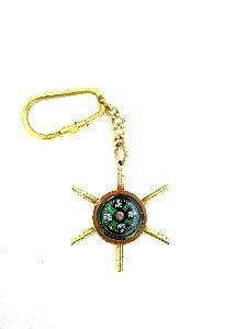 Nautical Ship Wheel Compass Keychain