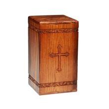 Hand Carved Cross Wooden Adult Urn
