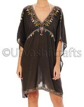 Women Free Size Casual Cotton Back High Neck Beachwear Kaftan