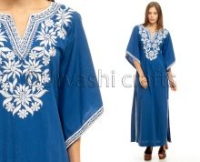 Women Party Long Wide Sleeves Maxi Embroidery Dress